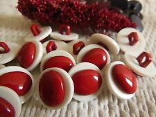 lot 10 boutons à pied bicolore rouge blanc bombé diamètre: 1,3 cm Ref 2126