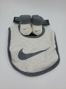 Nike Baby Booties and Bib Set, Size 0-6 Months, Ivory, Gray, Shower Gift S3
