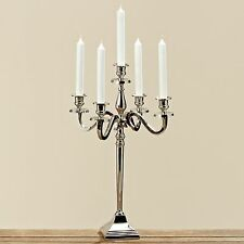 2 x 50 cm Candlesticks Nickel Plated Silver Candle Holder 5-flammig