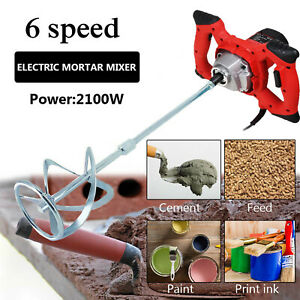 Electric Plaster Paddle Mixer Handle Drill Mortar Cement Paint Stirrer Whisk UK