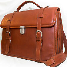 Premium Leather Briefcase/Messenger Bag - ASTON Triple Compartment - MADE IN USA