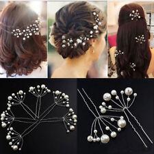 10pcs Barrette Epingle Pinces Cheveux U Clips Perle Chignon Coiffure Pour Mariée