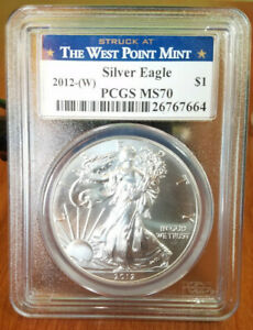2012 W $1 Silver Eagle Annual UNC Dollar Set PCGS MS70