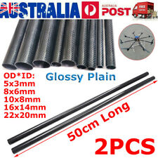 2PCS 5-22mm OD 3K Carbon Fiber Tube Pipe Glossy Plain Surface Roll Wrapped 50cm
