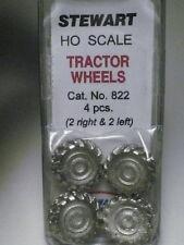 """Stewart-Tomar HO Large Loader Tractor Skidder Wheels/Tires (4 pcs) """"Pewter"""" NIB"""