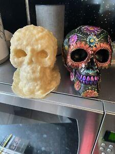 Beautiful Flower Design Skull Head Rubber Latex Mould mold Gothic Garden