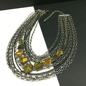 New CHICO'S Yellow Rhinestone STATEMENT Necklace SILVER CHAINS MultiStrand PP30M