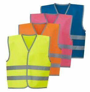 Kids Childrens Hi Viz Vis Vest Waistcoat Visibility Yellow Orange Pink Blue