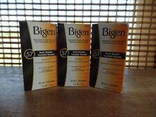 Bigen Permanent Powder Hair Color 57 Dark Brown .21 oz. ea (lot of 3)