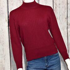 Valerie Stevens Vintage 100% Merino Wool Sweater Sz M Mock Neck Burgundy Red