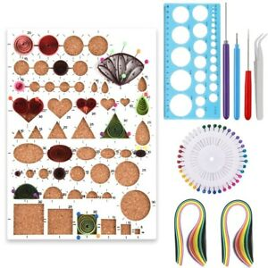 9Pc Starter Quilling Paper Kit Cork Tool Workboard Slotted Tool Art Creation Set