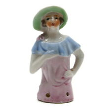 Vintage 1930s Porcelain Half Doll Lady Pin Cushion Art Deco Lady Made In Japan
