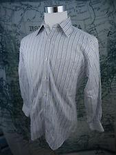 Robert Talbott Carmel Men Dress Shirt - Blue/White Striped Cotton 15.5/34 -D711a