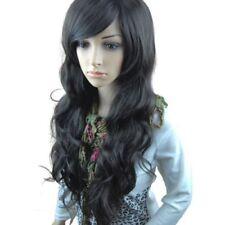 Perruque Longue Bouclée Frange de Côt Noir Filet à Cheveux Peigne Anti-statiq