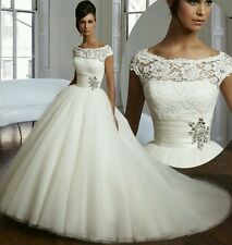 NEW Elegant White/ivory Wedding Dress Bridal Gown  Size 6-16 UK