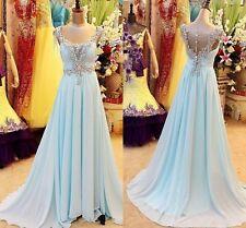 Neu Blau Abendkleider Brautkleid Ballkleider Swarovski A-Line Chiffon Partykleid