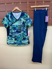New Navy Blue Print Scrub Set With Koi 2Xl Top & Healing Hands 2Xl Tall Pant Nwt
