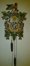"Vintage Colorful German Made  3 Bird Cuckoo Clock 14"" tall 8"" wide"
