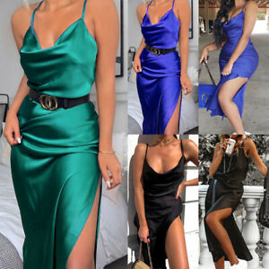 Womens Satin Silk Midi Dress Summer Sleeveless Party Bodycon Side Split Dresses