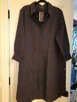 NWT Lafayette 148 Navy Blue Shirt Dress SZ XXL Retail $498.