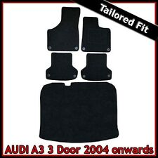 Audi A3 Mk2 3-Door 2003-2013 Fully Tailored Carpet Car Floor & Boot Mats BLACK