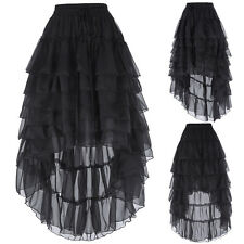 Black Steampunk Skirt Long Gothic Lace RUFFLE Victorian Bustle Punk Rave Bottoms