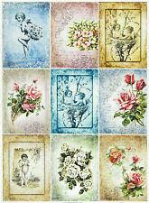 Carta DI RISO PER DECOUPAGE SCRAPBOOKING foglio Rose e angeli