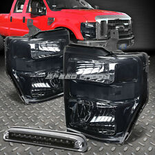 SMOKED HEADLIGHT+CLEAR SIGNAL BUMPER+BLACK LED 3RD BRAKE LIGHT FOR 08-10 FORD SD