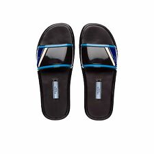 PRADA Sport Slide Sandal Slipper Rubber 1XX344 Black Light Blue Size 39.5 US 9.5