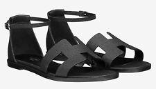 c09985cf3351 BNIB Authentic Hermes Black Epsom Calfskin Santorini Sandals Size 36