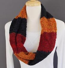 Navy Blue Mustard  circle scarf nubby knit scarf infinity endless loop circular