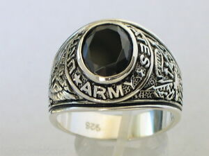 925 Sterling Silver United States Army Military Black Jet Men Ring Size 7-14