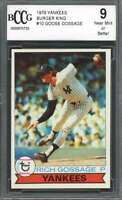 1979 yankees burger king #10 GOOSE GOSSAGE new york yankees BGS BCCG 9