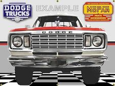1978 Dodge Power Wagon 4X4 Truck Red Garage Scene Banner Sign Mural Art 4' X 3'