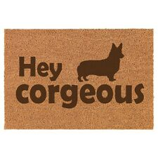 Coir Door Mat Entry Doormat Funny Hey Corgeous Corgi Funny Gorgeous