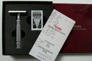 Seki Feather AS-D2 double edge 316 stainless steel safety razor polished boxed