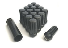 "20pc 9/16"" BLACK 51MM SPLINE DRIVE LOCKING LUG NUTS 20 LUGS W/ KEY FOR WHEELS"