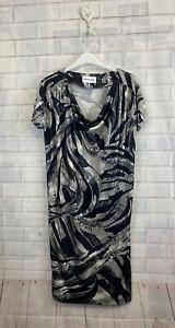 🍄 EMILIO PUCCI 🍄 Beautiful Grey Printed Cowl Neck Silk Dress Uk 10