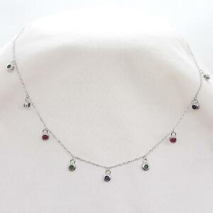 World Class .30ctw Emerald, Ruby & Sapphire 925 Sterling Silver Necklace 3.4g