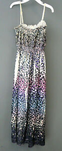 Lapis  Sleevelss Contrast Pleats Sequined Dress One Size # U3 133 NEW