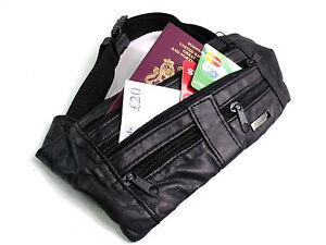 Mens Ladies Discrete Soft Genuine Leather Bum Bag Money Belt Travel Waist Fanny