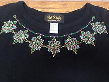 Womens Bob Mackie Wearable Art Dress Black Cotton Small S Neck Design Blue Gold