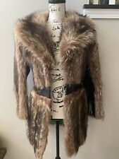 Vintage 70s Raccoon Fur Coat Leather Trench Full Collar S/M