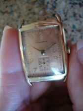 EARLY SCARCE LONGINES 14K SOLID GOLD RECTANGULAR WATCH MOVEMENT 9L  NOT RUNNING