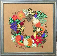 Vintage Framed Needlepoint Embroidery Wreath Fruit Bird Butterflies Leaves 20x20