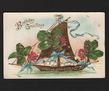 OPC Early 1900's Birthday Embossed Foil Ship Postcard