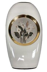 "White Gloss Slim Vase Chokin 10"" Vase 24KT Gold Porcelain JAPAN"