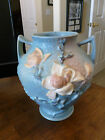 """Roseville Magnolia Blue - Footed Two Handle Vase - 92 - 8.5"""" - Chip/have pieces"""