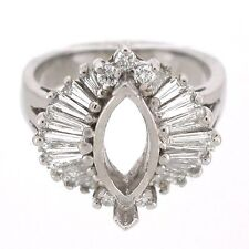 14k Ballerina Diamond Semi Mount Ring Mounting 1.21 Ctw - Marquise Setting