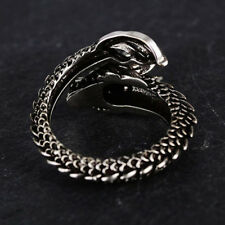 Mens Vintage Black 3D Dragon Wrap Opening Adjustable Ring Punk Jewelry BS